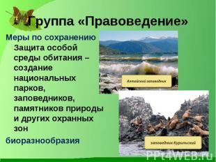 Меры по сохранению Защита особой среды обитания – создание национальных парков,