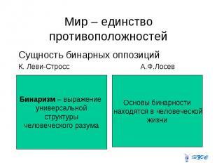 Мир – единство противоположностей Сущность бинарных оппозиций К. Леви-Стросс А.Ф