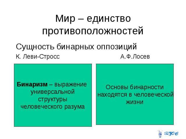 Мир – единство противоположностей Сущность бинарных оппозиций К. Леви-Стросс А.Ф.Лосев