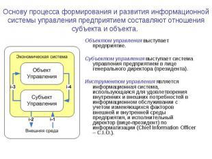 Основу процесса формирования и развития информационной системы управления предпр