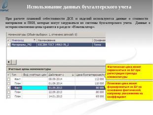Использование данных бухгалтерского учета При расчете плановой себестоимости ДСЕ