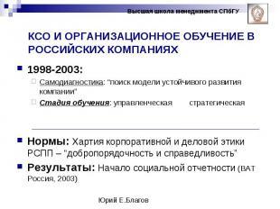 """1998-2003: 1998-2003: Самодиагностика: """"поиск модели устойчивого развития компан"""