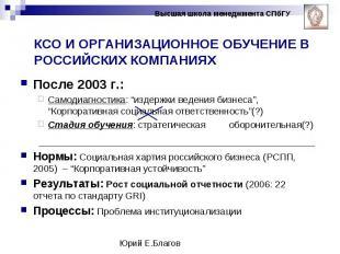 """После 2003 г.: После 2003 г.: Самодиагностика: """"издержки ведения бизнеса"""", """"Корп"""