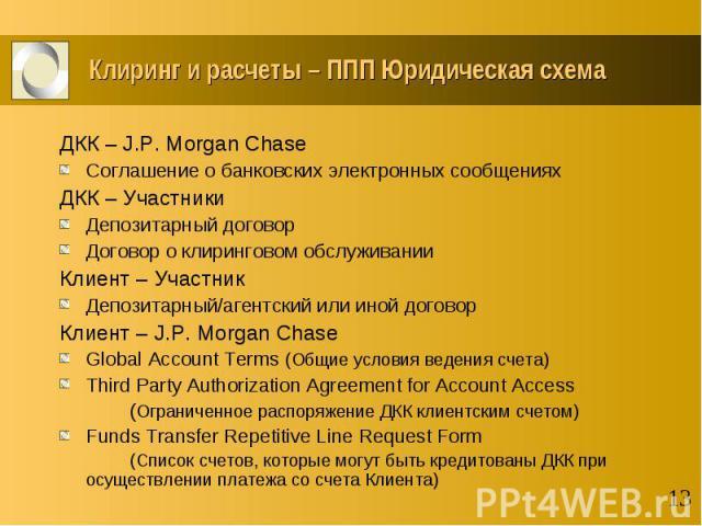 Клиринг и расчеты – ППП Юридическая схема ДКК – J.P. Morgan Chase Соглашение о банковских электронных сообщениях ДКК – Участники Депозитарный договор Договор о клиринговом обслуживании Клиент – Участник Депозитарный/агентский или иной договор Клиент…