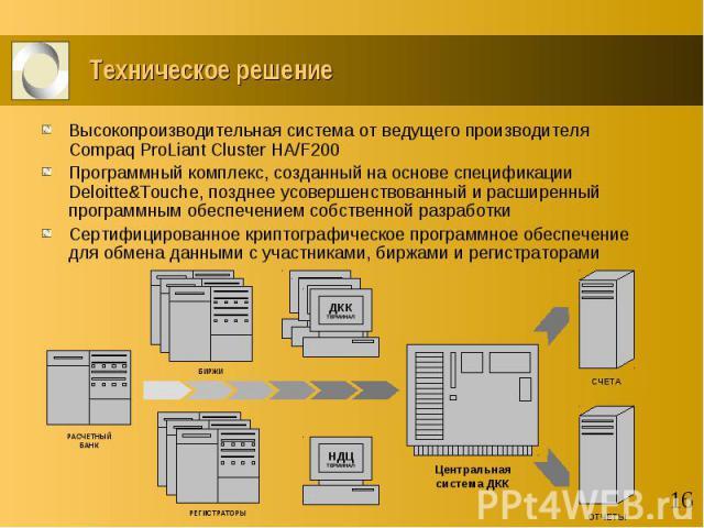 Техническое решение Высокопроизводительная система от ведущего производителя Compaq ProLiant Cluster HA/F200 Программный комплекс, созданный на основе спецификации Deloitte&Touche, позднее усовершенствованный и расширенный программным обеспечени…