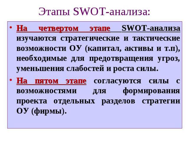 Этапы SWOT-анализа: На четвертом этапе SWOT-анализа изучаются стратегические и тактические возможности ОУ (капитал, активы и т.п), необходимые для предотвращения угроз, уменьшения слабостей и роста силы. На пятом этапе согласуются силы с возможностя…