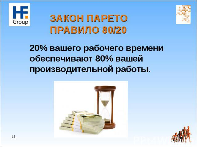 20% вашего рабочего времени обеспечивают 80% вашей производительной работы. 20% вашего рабочего времени обеспечивают 80% вашей производительной работы.