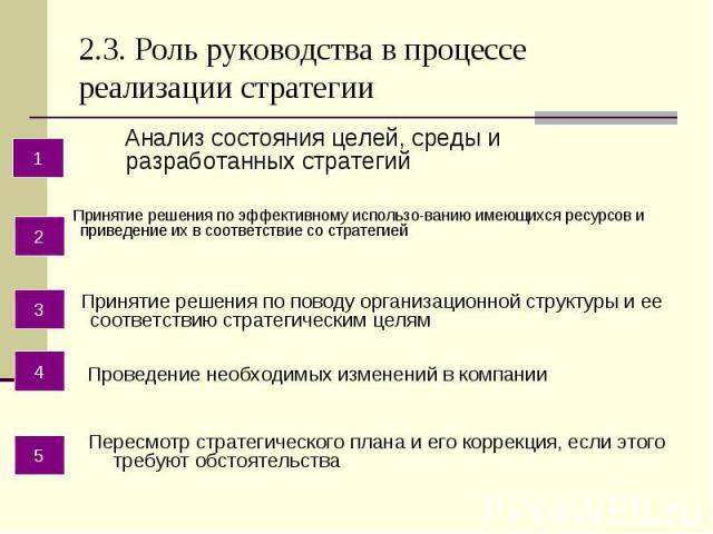 2.3. Роль руководства в процессе реализации стратегии Анализ состояния целей, среды и разработанных стратегий