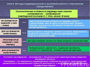 Тема 8. Методы индивидуальной и групповой работы с персоналом (продолжение)