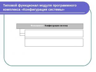 Типовой функционал модуля программного комплекса «Конфигурация системы»