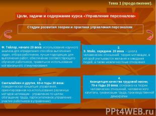 Стадии развития теории и практики управления персоналом Стадии развития теории и