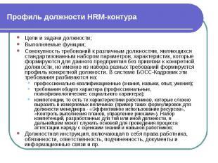 Профиль должности HRM-контура Цели и задачи должности; Выполняемые функции; Сово