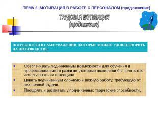 ТЕМА 6. МОТИВАЦИЯ В РАБОТЕ С ПЕРСОНАЛОМ (продолжение) Обеспечивать подчиненным в