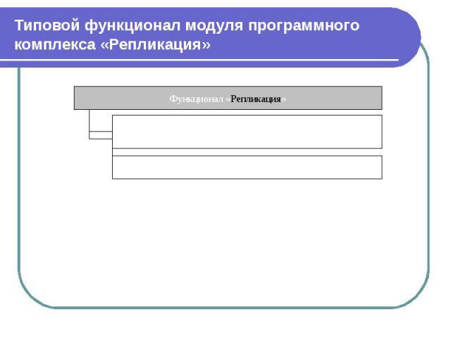 Типовой функционал модуля программного комплекса «Репликация»