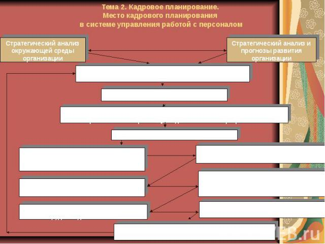 Тема 2. Кадровое планирование. Место кадрового планирования в системе управления работой с персоналом
