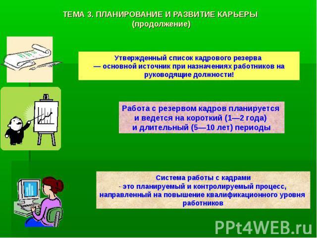 ТЕМА 3. ПЛАНИРОВАНИЕ И РАЗВИТИЕ КАРЬЕРЫ (продолжение)
