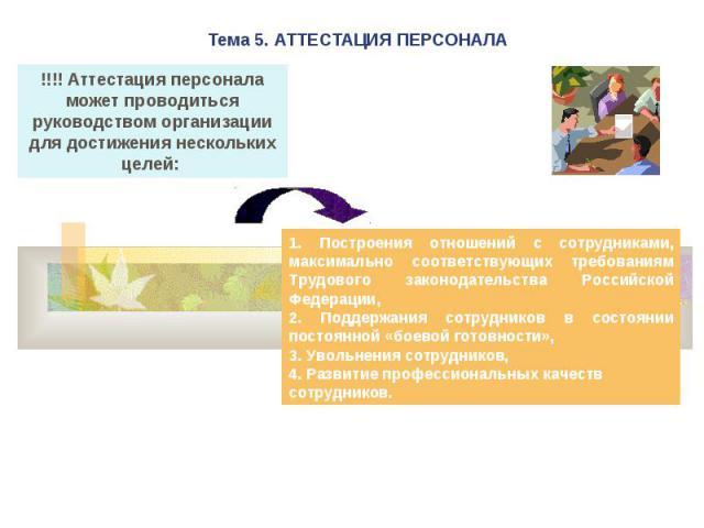 Тема 5. АТТЕСТАЦИЯ ПЕРСОНАЛА !!!! Аттестация персонала может проводиться руководством организации для достижения нескольких целей: