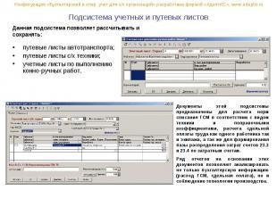 Подсистема учетных и путевых листов путевые листы автотранспорта; путевые листы