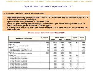 Подсистема учетных и путевых листов