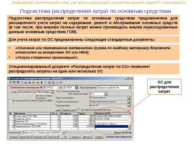 Подсистема распределения затрат по основным средствам