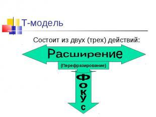 Состоит из двух (трех) действий: Состоит из двух (трех) действий: