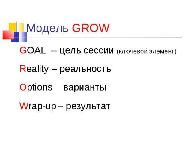 GOAL – цель сессии (ключевой элемент) GOAL – цель сессии (ключевой элемент) Reality – реальность Options – варианты Wrap-up – результат