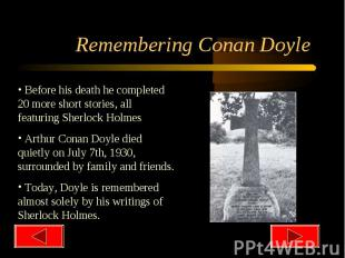 Remembering Conan Doyle