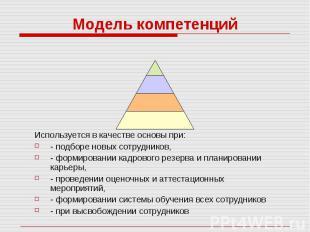Модель компетенций Используется в качестве основы при: - подборе новых сотрудник