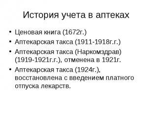 Ценовая книга (1672г.) Ценовая книга (1672г.) Аптекарская такса (1911-1918г.г.)