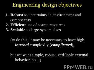 Engineering design objectives