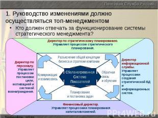 1. Руководство изменениями должно осуществляться топ-менеджментом Кто должен отв