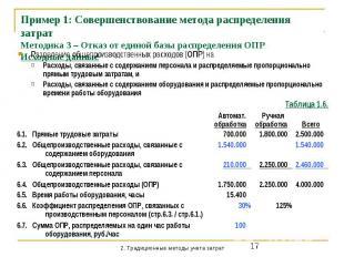 Пример 1: Совершенствование метода распределения затрат Методика 3 – Отказ от ед