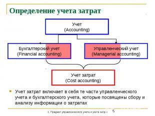 Определение учета затрат Учет затрат включает в себя те части управленческого уч