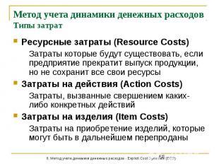 Метод учета динамики денежных расходов Типы затрат Ресурсные затраты (Resource C