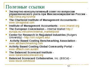 Полезные ссылки Экспертно-консультативный совет по вопросам управленческого учет