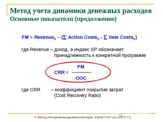 Метод учета динамики денежных расходов Основные показатели (продолжение) PM = RevenueSP – ( Action CostsSP - Item CostsSP) где Revenue – доход, а индекс SP обозначает принадлежность к конкретной программе PM CRR = OOC где CRR – коэффициент покрытия …