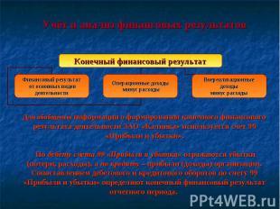Учёт и анализ финансовых результатов Для обобщения информации о формировании кон