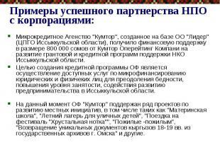 """Примеры успешного партнерства НПО с корпорациями: Микрокредитное Агенство """""""