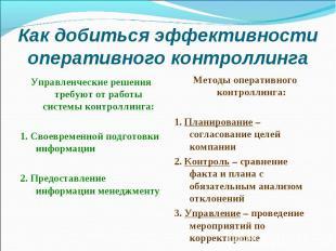 Как добиться эффективности оперативного контроллинга Управленческие решения треб