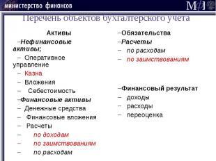 Перечень объектов бухгалтерского учета Активы Нефинансовые активы; Оперативное у
