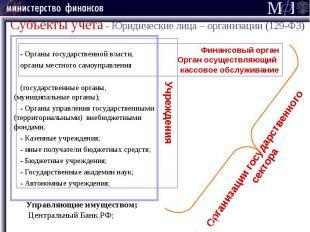 Субъекты учета - Юридические лица – организации (129-ФЗ) - Органы государственно