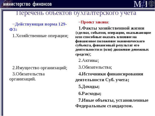 Перечень объектов бухгалтерского учета Действующая норма 129-ФЗ: Хозяйственные операции; Имущество организаций; Обязательства организаций.