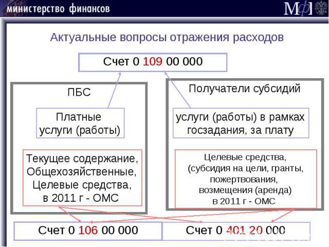 Актуальные вопросы отражения расходов Счет 0 109 00 000