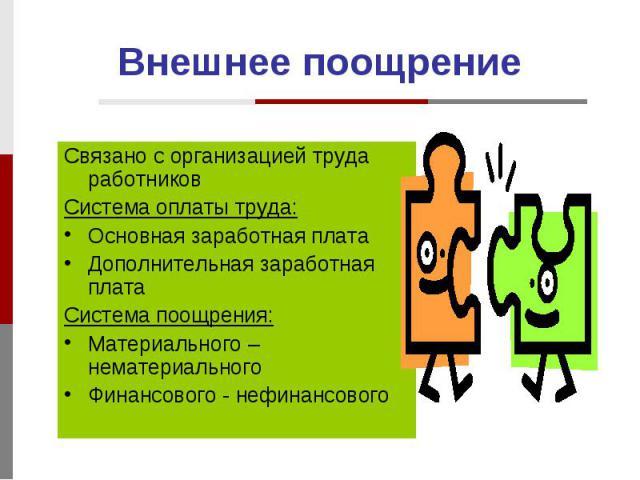 Внешнее поощрение Связано с организацией труда работников Система оплаты труда: Основная заработная плата Дополнительная заработная плата Система поощрения: Материального – нематериального Финансового - нефинансового