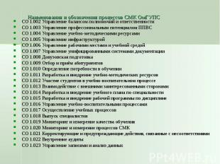 Наименования и обозначения процессов СМК ОмГУПС СО 1.002 Управление балансом пол