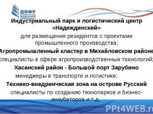Индустриальный парк и логистический центр «Надеждинский» Индустриальный парк и л