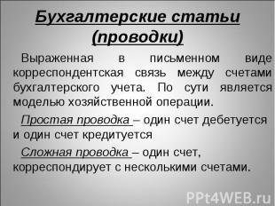 Выраженная в письменном виде корреспондентская связь между счетами бухгалтерског