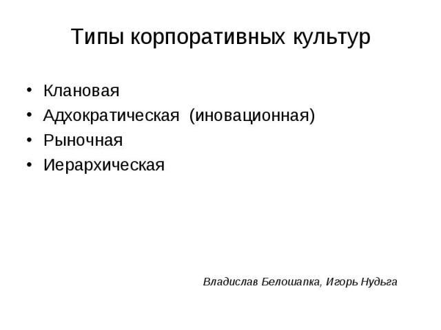Клановая Клановая Адхократическая (иновационная) Рыночная Иерархическая Владислав Белошапка, Игорь Нудьга