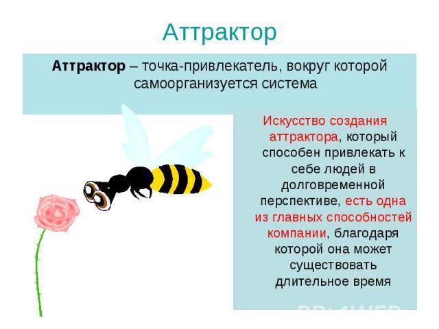 Аттрактор – точка-привлекатель, вокруг которой самоорганизуется система Аттрактор – точка-привлекатель, вокруг которой самоорганизуется система