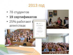 78 студентов 78 студентов 19 сертификатов 25% работают в агентствах
